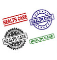 damaged textured health care seal stamps vector image vector image