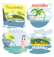 Digital touristic vacation destination set vector image
