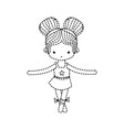 dotted shape girl dancing to practice ballet with vector image vector image