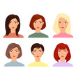 female faces flat set blonde vector image vector image