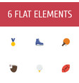 flat icons reward ice boot american football and vector image vector image
