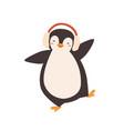 funny dancing cartoon penguin in earmuffs vector image