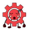 gear machinery piece cute kawaii cartoon
