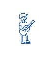 guitar playerflamenco line icon concept guitar vector image vector image