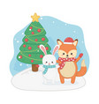 happy merry christmas card with fox and rabbit vector image vector image