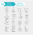 house cleaning thin line icon set vector image vector image