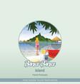 islands french polynesia bora bora with a girl vector image vector image