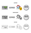isolated object of office and house logo set of vector image