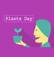 man hold tree pot with sprout plants day vector image