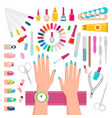 nail polishes and instruments for manicure set vector image vector image