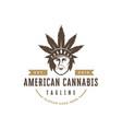 native indian american cannabis logo vector image vector image