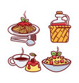 pasta and olive oil macaroni meal isolated set vector image vector image