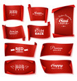 red paper banner icon set vector image vector image