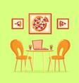 restaurant table italian pizza in box pizzeria vector image vector image