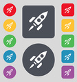 Rocket icon sign A set of 12 colored buttons Flat vector image