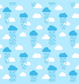 seamless pattern of clouds and rain drops vector image