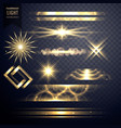 set of light sparkles effect glitters and lens vector image vector image