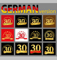 set of number thirty 30 years celebration design vector image