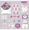 Set of Wedding Stationary - Invitation Card RSVP vector image vector image