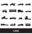 simple cars black silhouettes icons collection vector image