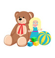 teddy bear and doll toys set vector image vector image