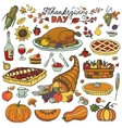 Thanksgiving dayDoodle food iconsColorful set vector image