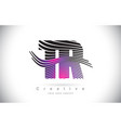 tr t r zebra texture letter logo design with vector image