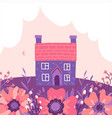 two story building with garden and cloud vector image vector image