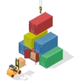 Unloading of sea cargo containers by a forklift vector image vector image