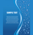 water drops on blue background with place for text vector image vector image