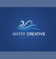 wave logo design with blue background vector image