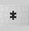 white jigsaw puzzle with missed piece solution