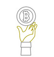 yellow line bitcoin electronic currency with hand vector image vector image