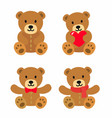 bear toy icon set vector image