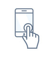 touchscreen icon with tablet or smartphone vector image
