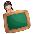 A girl at the back of a chalkboard vector image vector image