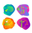 a set of bright colored christian logos vector image