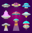 alien spaceships set ufo unidentified flying vector image