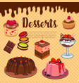 bakery shop pastry desserts wafer poster vector image vector image