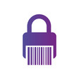 bar code lock icon safebox barcode web code for vector image