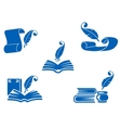 Books manuscripts and feathers icons vector image vector image