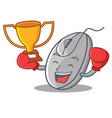 boxing winner mouse mascot cartoon style vector image vector image