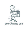 boy carring gift line icon boy carring vector image