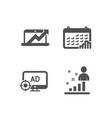 calendar graph sales diagram and seo adblock vector image vector image