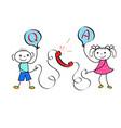 cartoon customer calling to user hotline operator vector image vector image