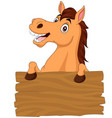 cartoon funny donkey with blank board sign vector image vector image