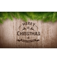 Christmas emblem on wooden texture vector image vector image