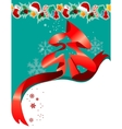 christmas greeting card with red ribbon vector image vector image
