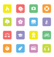 Colorful simple flat icon set 6 on rounded rectang vector image vector image