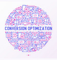 conversion optimization concept in circle vector image vector image